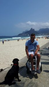 Blumil electric wheelchair beach ride in Rio