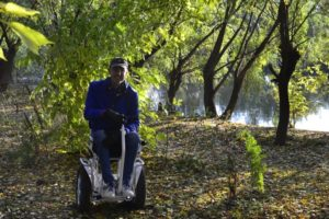Blumil S5 electric wheelchair in a forest