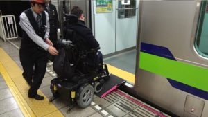 Boarding the underground on an electric wheelchair