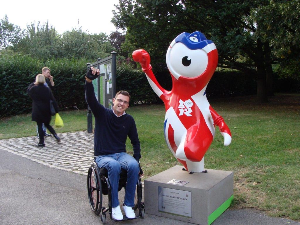 Visit in London, Blumil wheelchair, Mandeville the mascot for the London 2012 Paralympic Games