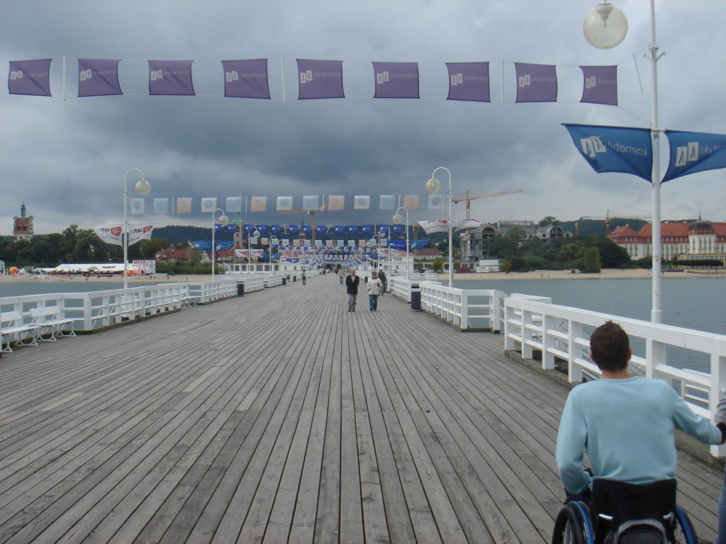 Pier in Gdańsk, Poland, accessible travel, electric wheelchair, travel with an electric wheelchair