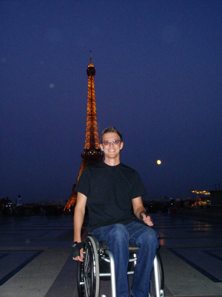 Under the Eiffel Tower, accessibility in Paris, wheelchair friendly Paris, electric wheelchair