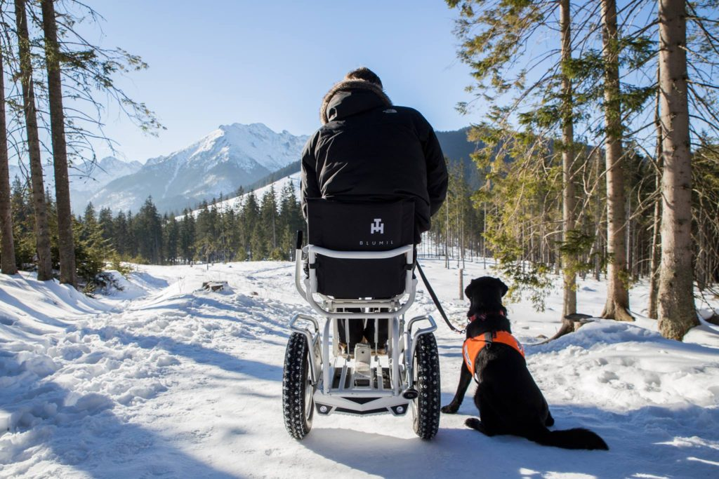 Blumil electric wheelchair in Polish mountains