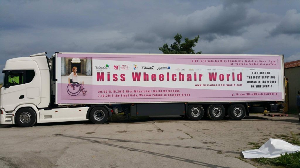 Miss Wheelchair World, beauty contest in Warsaw, Poland, electric wheelchair