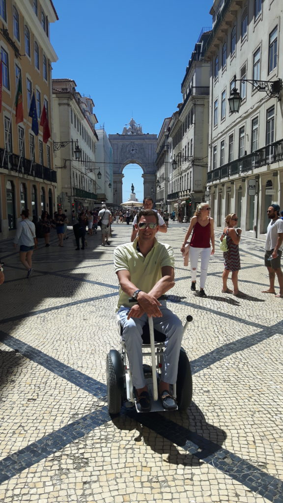 Accessible travel, Terreiro do Poco, Portugal, Lisbon, traveling in a wheelchair, electric wheelchair