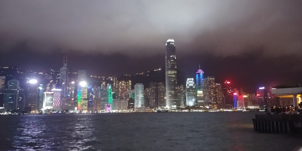 City lights in Hong Kong, accessible travel, wheelchair friendly travel, electric wheelchair