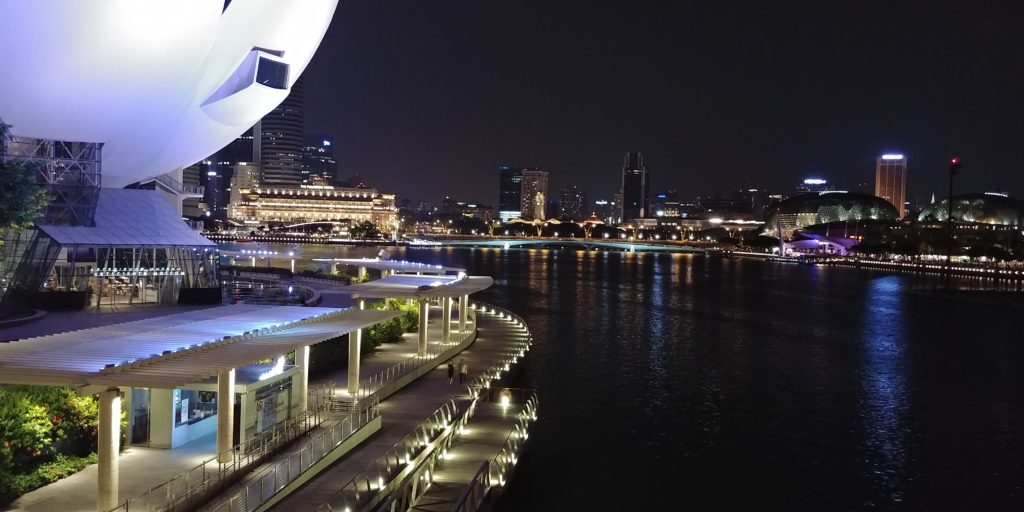 Night in Singapore, city view, accessible travel, wheelchair friendly travel, electric wheelchair