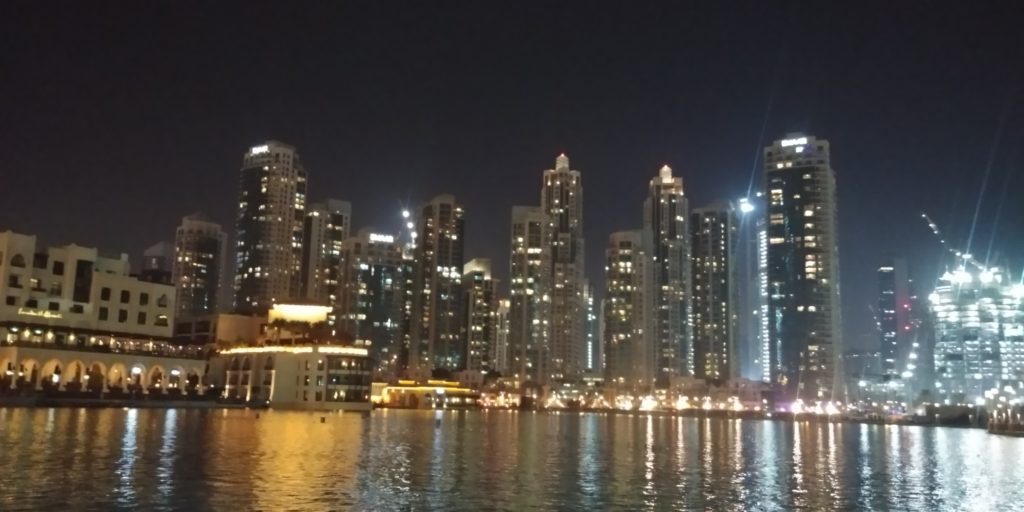 Dubai at night, United Arab Emirates, accessible travel, electric wheelchair, wheelchair friendly travel
