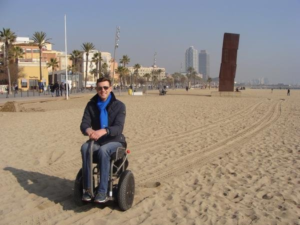 Enjoying Barcelona, accessible travel, electric wheelchair