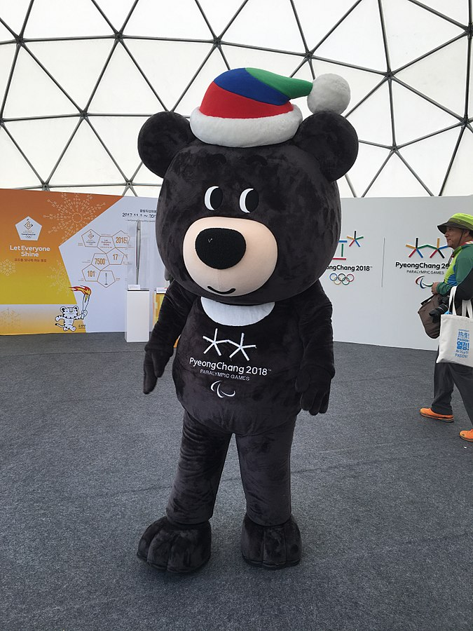 Bandabi, Winter Paralympics in Korea, Bandabi the mascot, Paralympics the mascot, the bear mascot, electric wheelchair, sports for disabled people